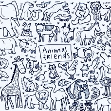 Drawn By Jessica Animal Friends Washable Silicone Colouring Mat