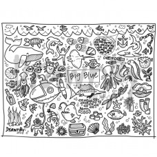 Drawn By Jessica Big Blue Washable Silicone Colouring Mat