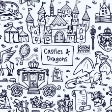 Drawn By Jessica Castles&Dragons Washable Silicone Colouring Mat