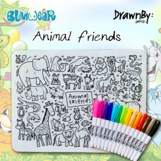 Drawn By Jessica: Washable Silicone Colouring Mat - Animal Friends