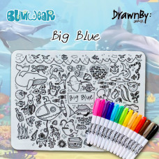 Drawn By Jessica: Washable Silicone Colouring Mat - Big Blue