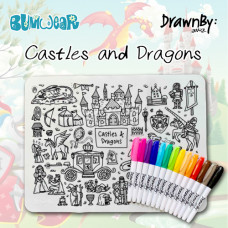 Drawn By Jessica: Washable Silicone Colouring Mat - Castles and Dragons
