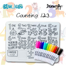 Drawn By Jessica: Washable Silicone Colouring Mat - Counting 123