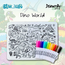 Drawn By Jessica: Washable Silicone Colouring Mat - Dino World