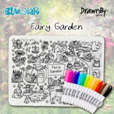 Drawn By Jessica: Washable Silicone Colouring Mat - Fairy Garden