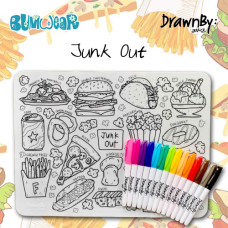 Drawn By Jessica: Washable Silicone Colouring Mat - Junk Out