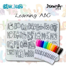 Drawn By Jessica: Washable Silicone Colouring Mat - Learning ABC