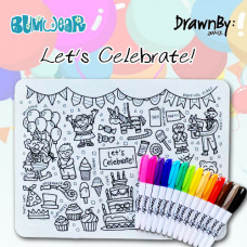 Drawn By Jessica: Washable Silicone Colouring Mat - Let's Celebrate