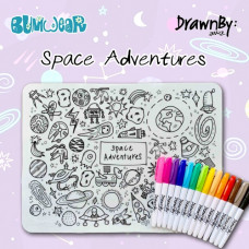 Drawn By Jessica: Washable Silicone Colouring Mat - Space Adventures