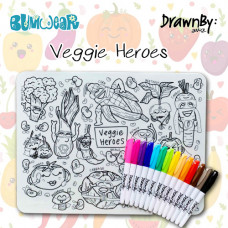 Drawn By Jessica: Washable Silicone Colouring Mat - Veggie Heroes