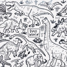 Drawn By Jessica Dino World Washable Silicone Colouring Mat