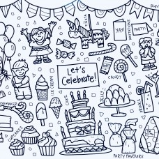 Drawn By Jessica Let's Celebrate Washable Silicone Colouring Mat