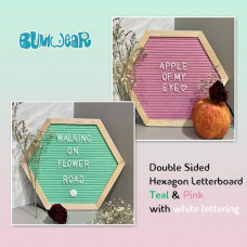 Hexagon Felt Letterboard - Teal & Pink