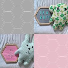 Hexagon Felt Letterboard - Grey & Pink