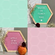 Hexagon Felt Letterboard - Teal & Pink