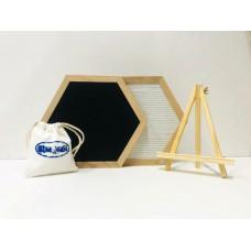 Hexagon Felt Letterboard - Black & White