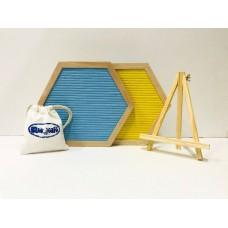 Hexagon Felt Letterboard - Blue & Yellow