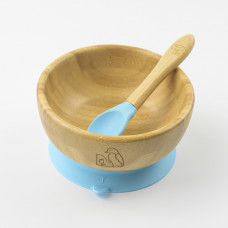 My Chill Kitchenette: Bamboo Bowl Set (With Suction) - Blue
