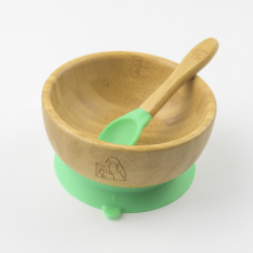 My Chill Kitchenette: Bamboo Bowl Set (With Suction) - Green