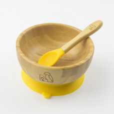 My Chill Kitchenette: Bamboo Bowl Set (With Suction) - Yellow