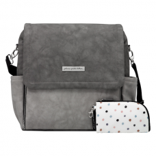 Petunia Pickle Bottom: Boxy Backpack - Pewter Matte Leatherette