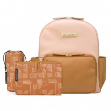 Petunia Pickle Bottom: District Backpack - Blush/Camel Leatherette