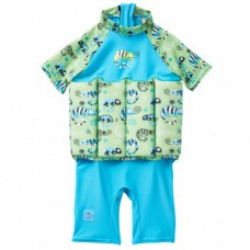 Splashabout: UV Float Suit in Green Gecko (zip) - 4-6yrs